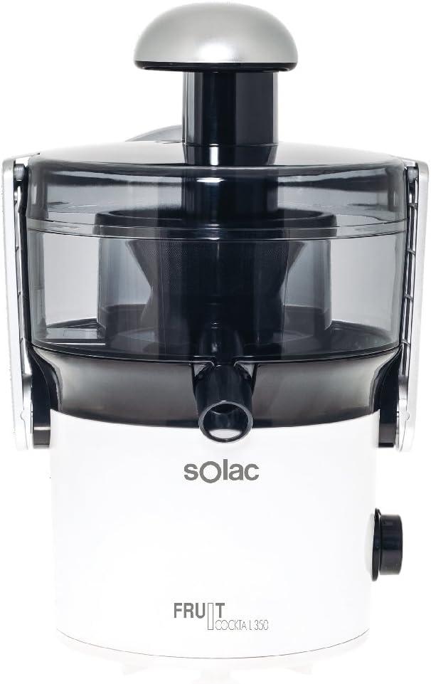 Solac LC-6205 Fruit Cocktail-Exprimidor (350 W, Capacidad 0, 4 l, 2 velocidades, Filtro de Acero Inoxidable), Color Blanco, 450 W, 0.4 litros, 0 Decibelios, plata
