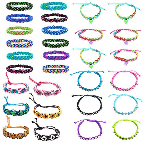 30 PCs Valentine Friendship Bracelets for Girls, Teens, Women - Handmade Woven Friendship Bracelet Bulk Set with 12 Party Favor Bags - Great for Gifts, Giveaways, Birthdays, Pinatas ()