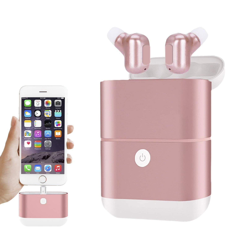 Nanle Auriculares inalámbricos, Mini Verdadero Auriculares Bluetooth Impermeables Auriculares internos Micrófono Auriculares Deportivos Integrados con Gran ...