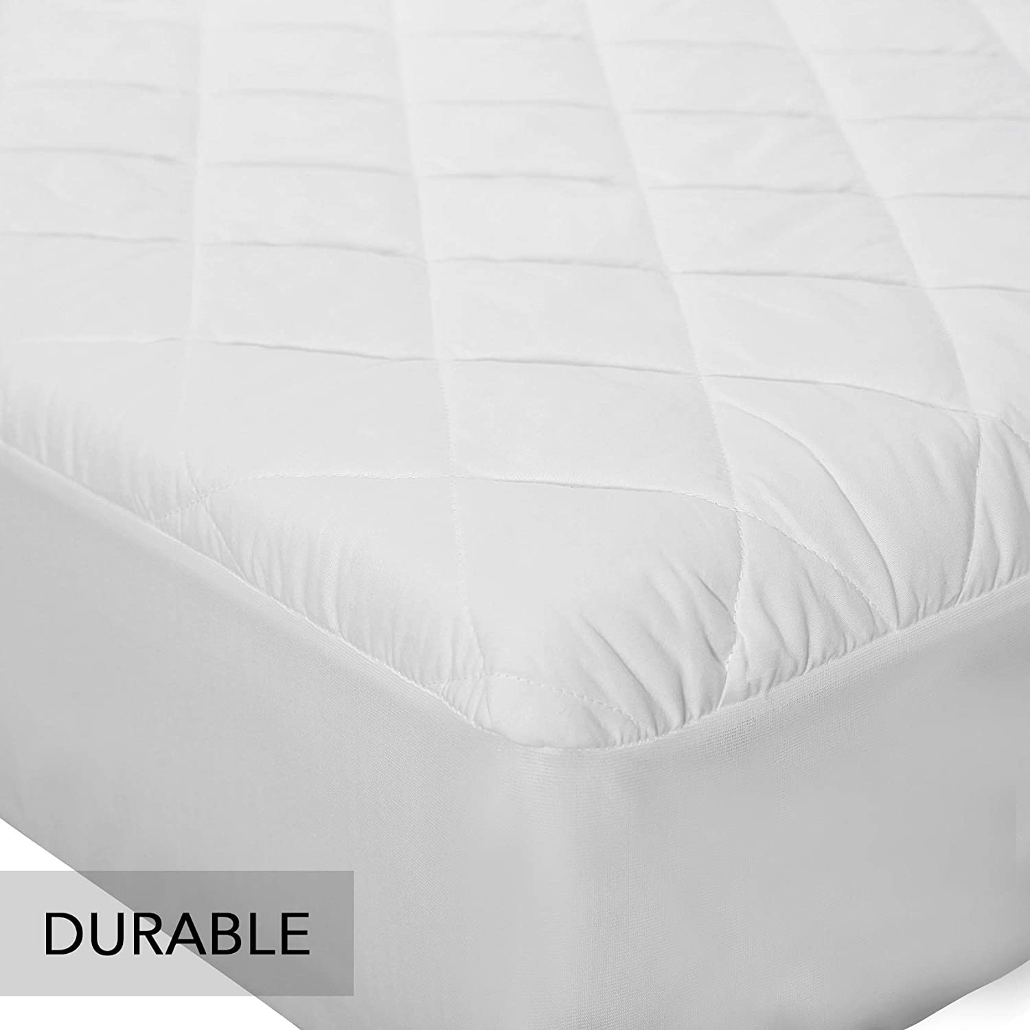 "MoMA Waterproof Crib Mattress Cover Hypoallergenic Polyester Toddler Mattress Pad Soft Fitted Baby Crib Mattress Pad with 9-inch Pocket Set of 2 - 52/""x 28/"" White Crib Mattress Protector"