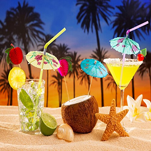 Sala-Houseware - 50pcs/pack Mixed Color Tropical Umbrella Parasol Cocktail Straws/Disposable Bendable Drinking Straws for Wedding Party YL976424 from Sala-Houseware