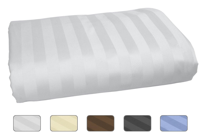 American Pillowcase 100% Long Staple Cotton Luxury Striped 540 Thread Count Flat Sheet - Twin XL, White