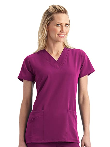 0cfdc9eee02 Classic Fit Collection By Jockey Women's Tri Blend Solid Scrub Top Xx-Small  Plum Berry