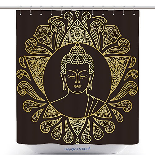 Mascot Costumes Ebay (Custom Shower Curtains Hand Drawn Gold Buddha Head With Lotus Decoration Sign For Tattoo Textile Print Mascots And 495860488 Polyester Bathroom Shower Curtain Set With Hooks)