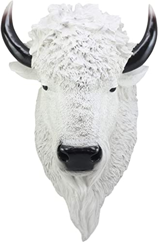 Ebros Sacred Lightning Large White Buffalo Wall Decor 18 Tall Faux Buffalo Bison Head Taxidermy Wall Art