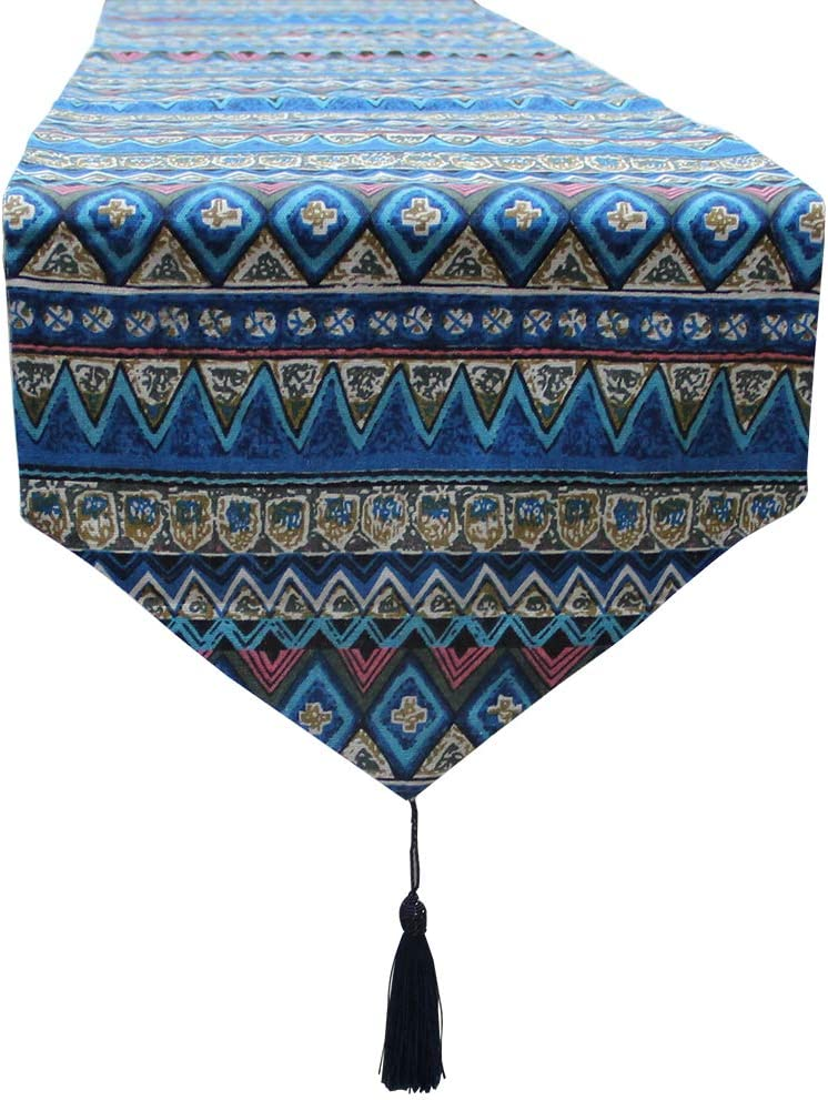 blue QSUM Table Runner Blue Ethnic Indian Style Tapestry For Home Decor
