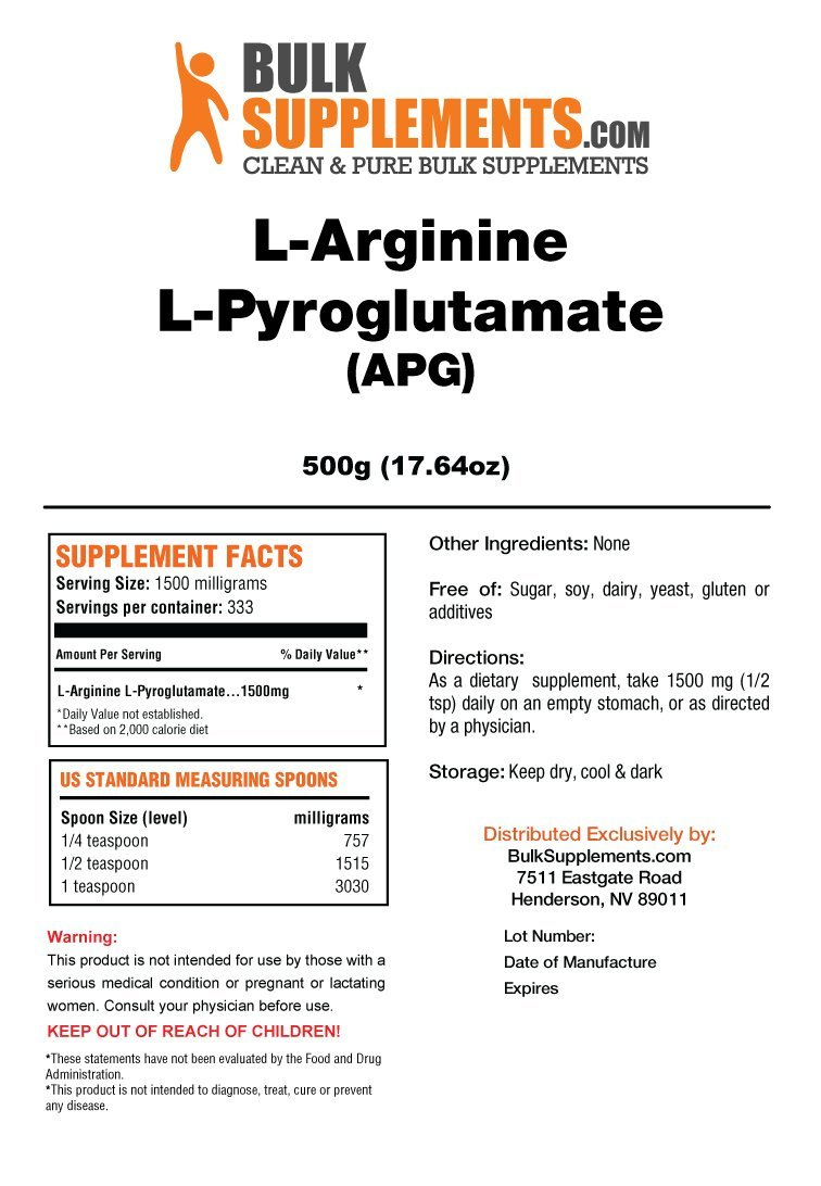 BulkSupplements L-Arginine L-Pyroglutamate Powder 500 Grams