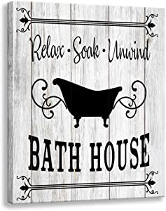 Bathroom Rule Wall Art Sign | Retro Canvas Painting | Wood Grain Background Design Family Bathroom Laundry Wall Decoration Plaque (12 X 15 inch, Bachroom)