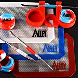SILICONE ALLEY Carving Tool [Stainless Steel] (3) + Non-stick Red/White/Blue Rectangle Mat (3) + Wax Jars Containers of Tie Dye Colors (3) + Red Container Holder (1) [USA Edition]