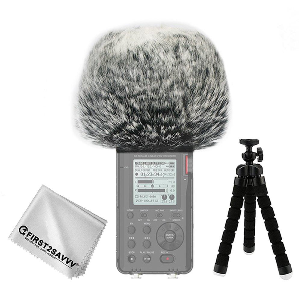 First2savvv Bonnette anti-vent Furry à l'extérieur pour enregistreurs numériques portables pour Tascam DR-40 DR40 + Trépied + chiffon de nettoyage TM-DM-DR40-B01TZ3 HSJDKSHJKH002