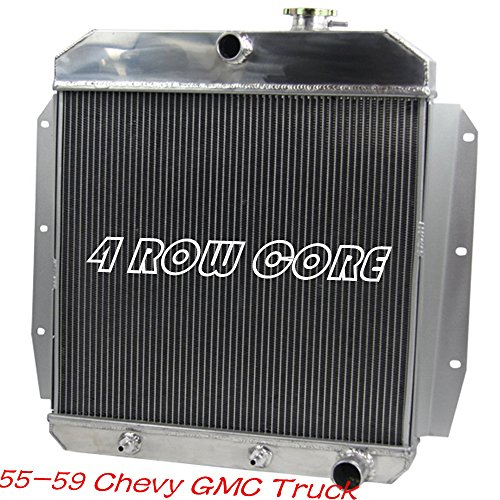 Pickup Truck Car Radiator (OzCoolingParts Designs Pro 1956 1957 1958 Chevrolet Truck Radiator, Upgrade 72mm 4 Row Core Full Aluminum Radiator for Chevy GMC Truck Pickup 1955-1959, L6 V8 Gas Auto Engines Radiator)