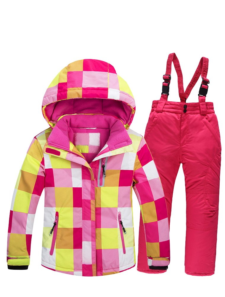 Mallimoda Boy's Girl's Winter Colorblock Ski Jacket 2-Piece Snowsuit Pink 2 Size 12 by Mallimoda