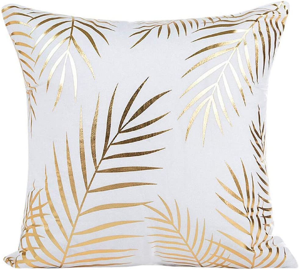 Fennco Styles Stylish Gold Foil Velvet 18 x18 Inch Decorative Throw Pillow – Leaves Print White Cushion Case Insert for Couch, Bedroom, Chair, Sofa and Living Room D cor