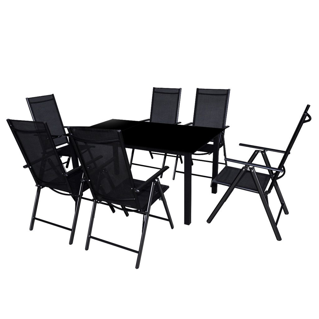 Festnight 7-tlg. Sitzgruppe Sitzgarnitur Gartenmöbel Set aus Aluminium 1 Tisch 150x90 + 6 Stühle