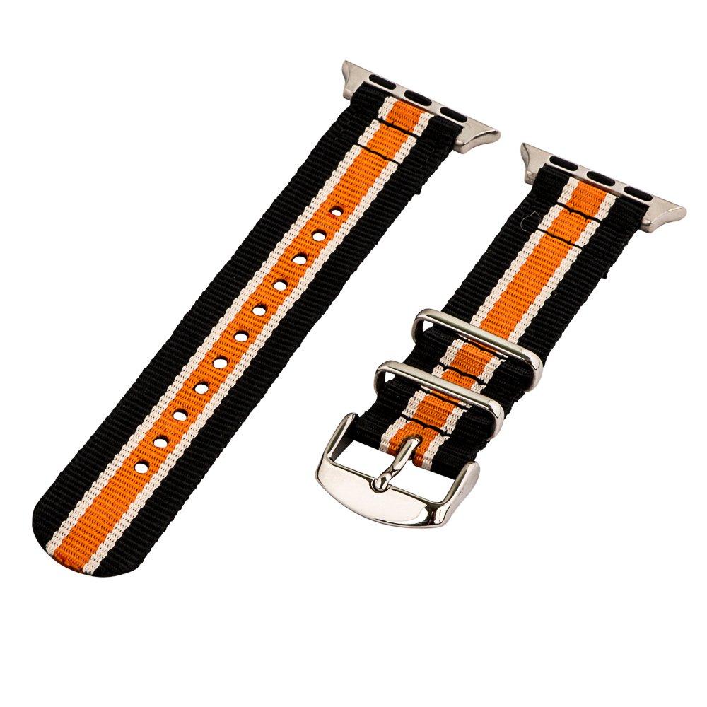 Clockwork Synergy – 2ピースクラシックNATOナイロンフラグ用時計バンドApple Black Tan & Orange Bands / Steel Hardware Black Tan & Orange Bands / Steel Hardware B01DYSQIL4