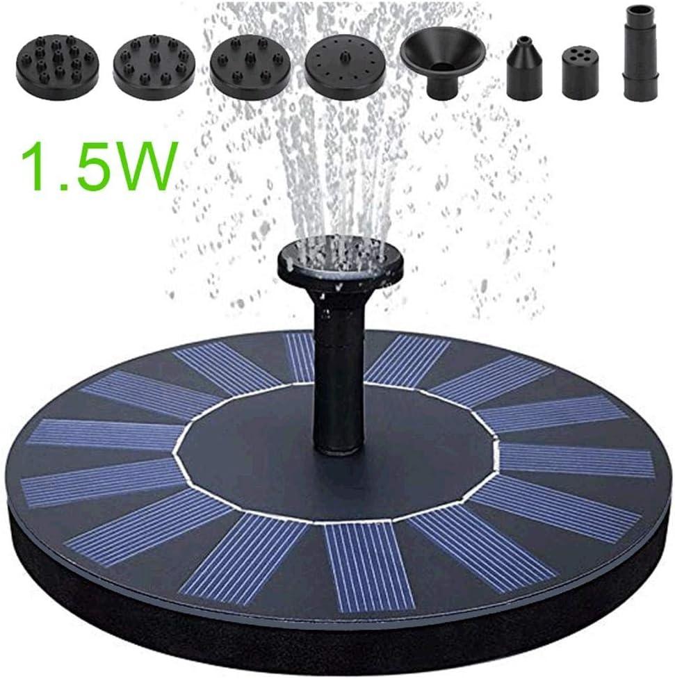 Fuente solar de 1,5 W, mini bomba de agua flotante con cuatro boquillas intercambiables, adecuada para pozos de piscina, fuentes de jardín de piedra