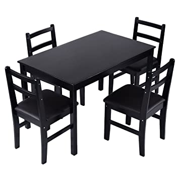 Giantex 5 Pcs Pine Wood Dining Set Table And 4 Upholstered Chair Breakfast  Furniture (Dark