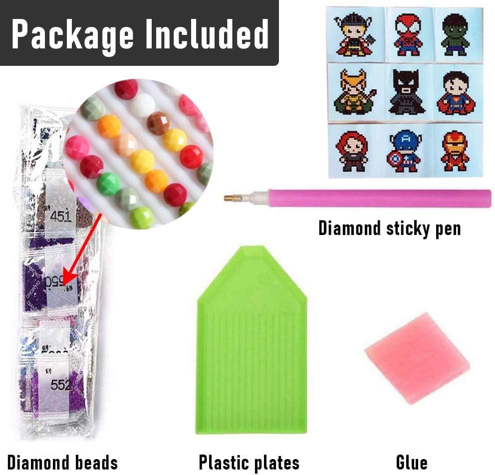 5D Hero Diamond Art Mosaic Stickers by Numbers Kits Diamond Painting Stickers Kits for Kids