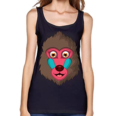 179ea3b234e372 Amazon.com  Women s Cute Baboon Head Casual Sleeveless Vest Novelty Tank  Tops Graphic Tee  Clothing