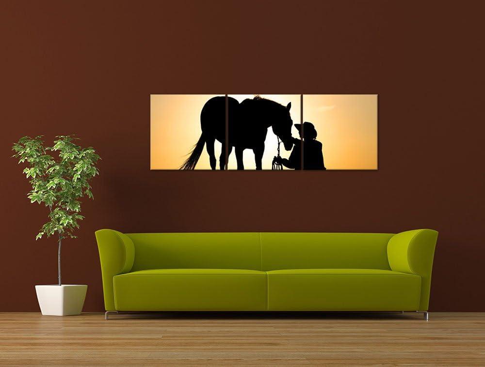Bilderdepot24 Impression dart Cheval avec Cow-Boy 40 x 30 cm la Faune Coucher du Soleil Cheval et Cavalier Images comme Une Impression de Toile