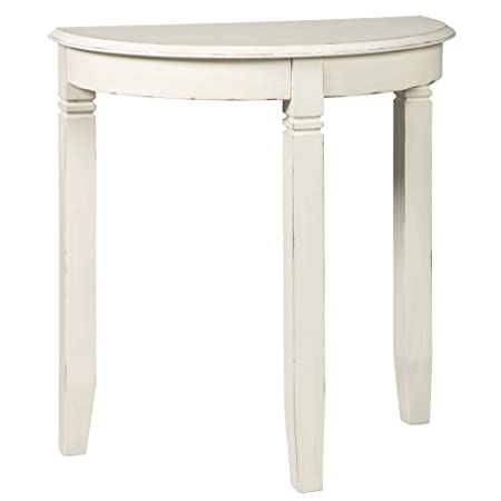 Ashley Furniture Signature Design – Birchatta Console Table – Moon-Shaped – Distressed Antiqued White Finish