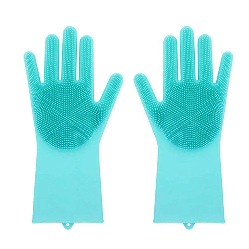 AKUKA 2pcs Silicone Gloves with Wash Scrubber,Magic Food-grade SakSak Silicone Cleaning Brush Scrubber,Heat Resistant Waterproof Reusable Dishwashing Brush for Cleaning, Household, Dish Washing, Washing the Car (Pink)