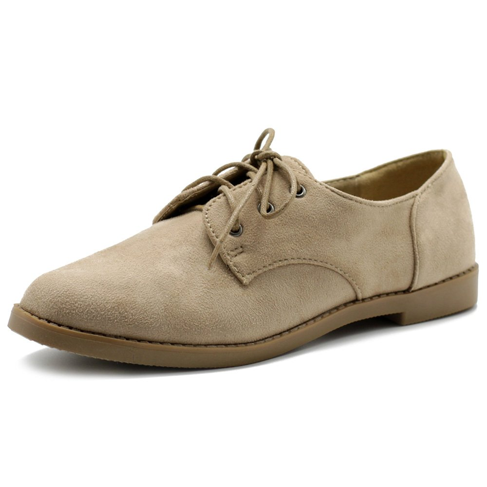 Ollio Women Classic Flat Shoe Lace Up Faux Suede Oxford ZM2910(7 B(M) US, Sand)