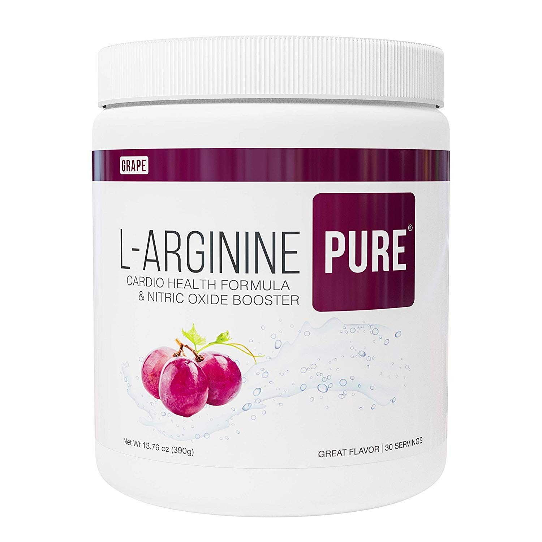 L-Arginine Pure ® | Best Tasting L-arginine Drink Mix Formula for Blood Pressure, Cholesterol, Heart Health, and More Energy (13.7 oz, 390g) (Grape, 1 Bottle) by L-Arginine PURE