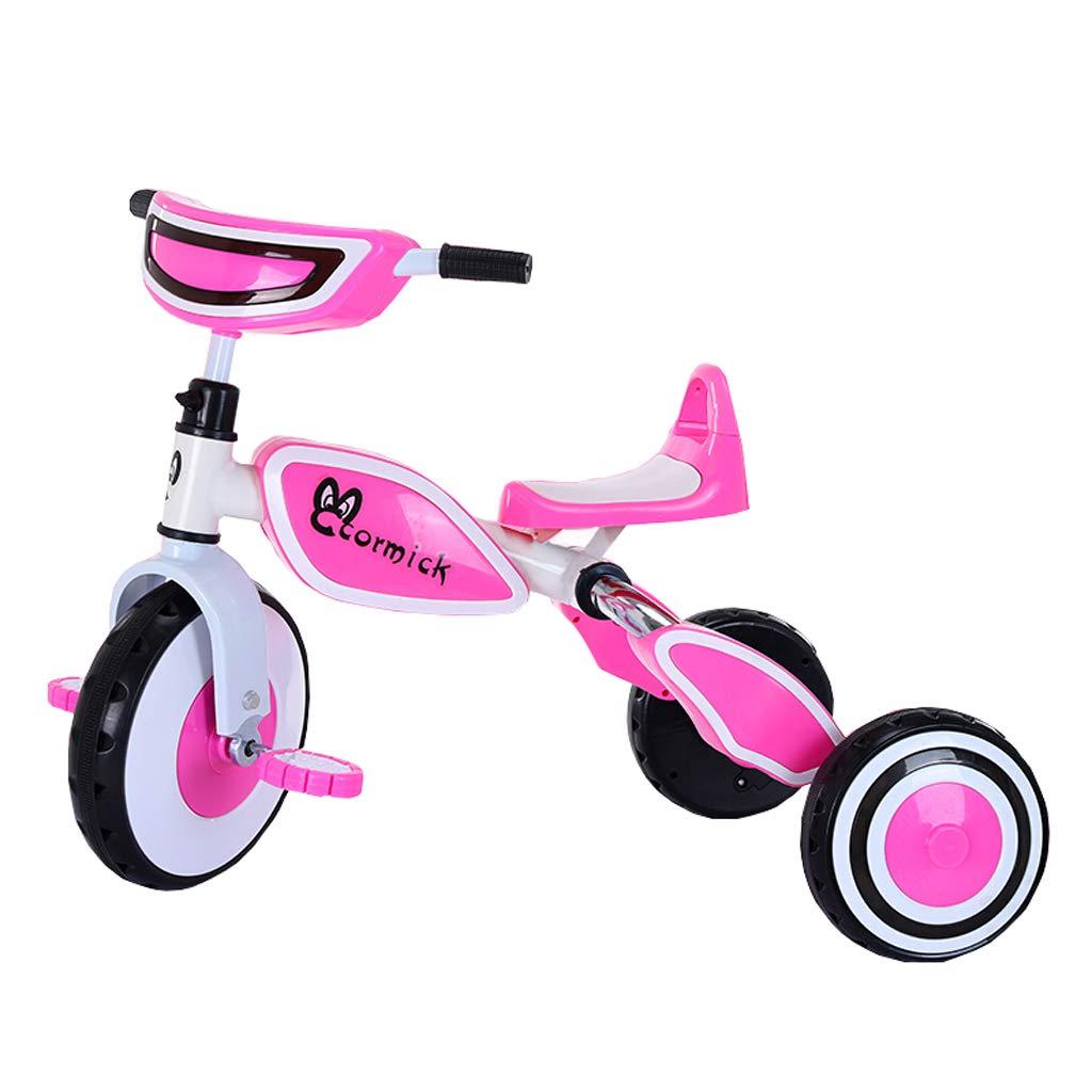 Triciclo de niños Cochecito de bebé Cochecito Ligero Plegable 2-5 años de Edad Bebé de Tres Ruedas Bicicleta Bicicleta Equilibrio Cesta de Carro Color (Color : Pink)