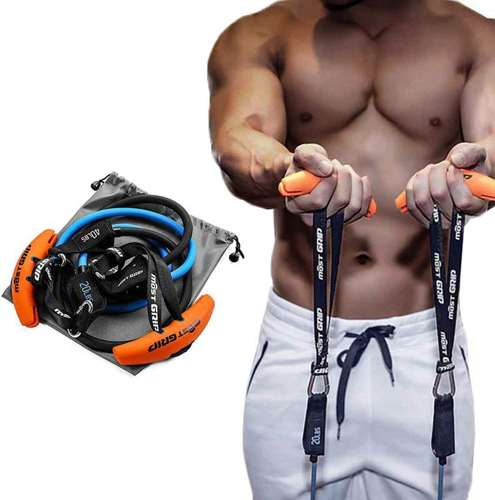 Gym Bar Barbell Exercise Resistance Band Handle Gripss Strength Sling Trainer