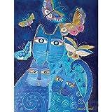Pantalla de pared, Indigo Gato con las mariposas, 12 por 16
