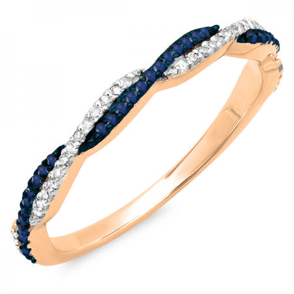 14K Gold Round Blue Sapphire & White Diamond Ladies Anniversary Wedding Band Swirl Stackable Ring Dazzlingrock DR4761-1987-P
