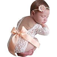 FAMKIT Bebek Fotoğraf Atış Kıyafetleri 2 parça/Set Yenidoğan Bebek Kız Dantel Tulum ve Saç Bandı Fotoğrafçılık…