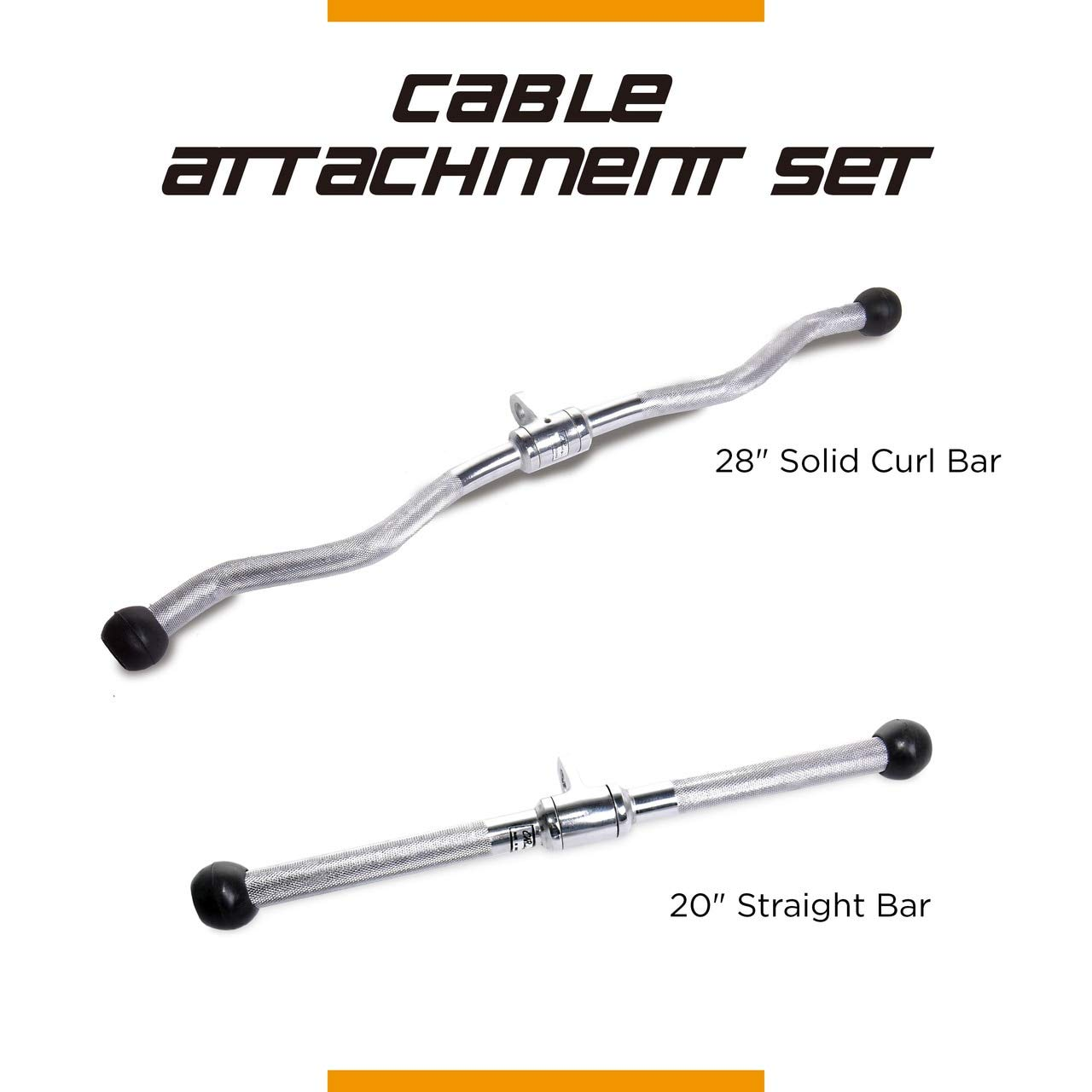 CAP Barbell 28'' Curl Bar & 20'' Straight Bar with Revolving Hanger Attachment Set
