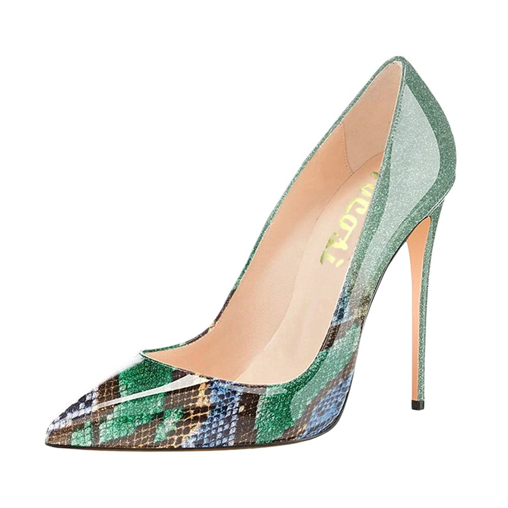 VOCOSI Pointy Toe Pumps for Women,Patent Gradient Animal Print High Heels Usual Dress Shoes B077P4TPT7 7.5 B(M) US|Gradient Green to Snake Print With 10cm Heel Height