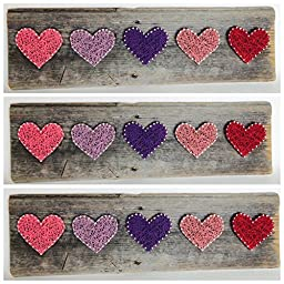 Reclaimed wood rustic string art Primrose Hearts - A unique gift for Mother\'s Day, Baby girls, Weddings, Anniversaries, Birthdays, Valentine\'s Day, Christmas,House Warming and nurseries.
