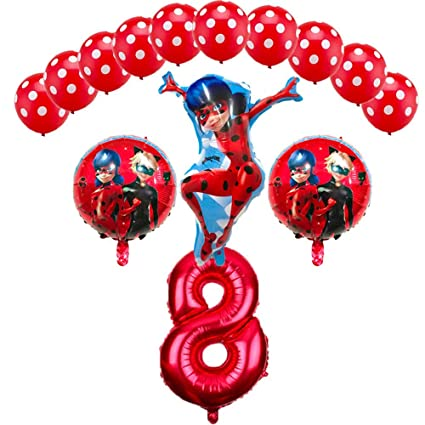 Amazon CuteTrees Ladybug 8th Birthday Balloons Set Party Decorations With Balloon And Latex 14 Pcs Toys Games