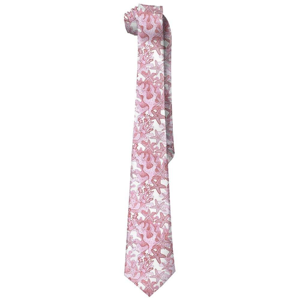 Shadidi Mens Pink Starfish Watercolor Fashion Tie Necktie