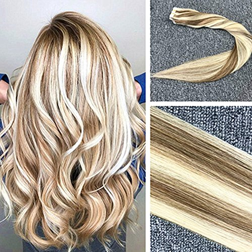 Komorebi 22inch 50Gram/Pack 2.5G per Piece 20pcs Balayage Tape in Hair Extensions Human Hair Tape in Thick Hair Extensions #8 Light Brown Mixed with #613 Bleach Blonde Two Tone Hair (Two Tone Tape)