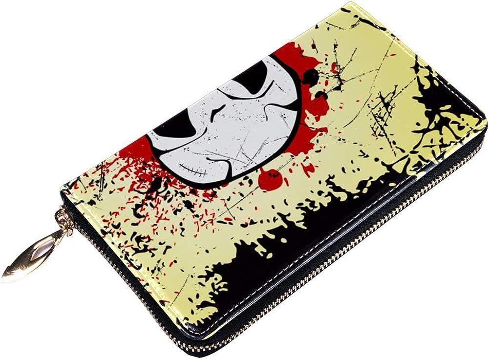 Womens Zip Around Wallet and Phone Clutch,Grunge Skull Print,Travel Purse Leather Clutch Bag Card Holder Organizer Wristlets Wallets