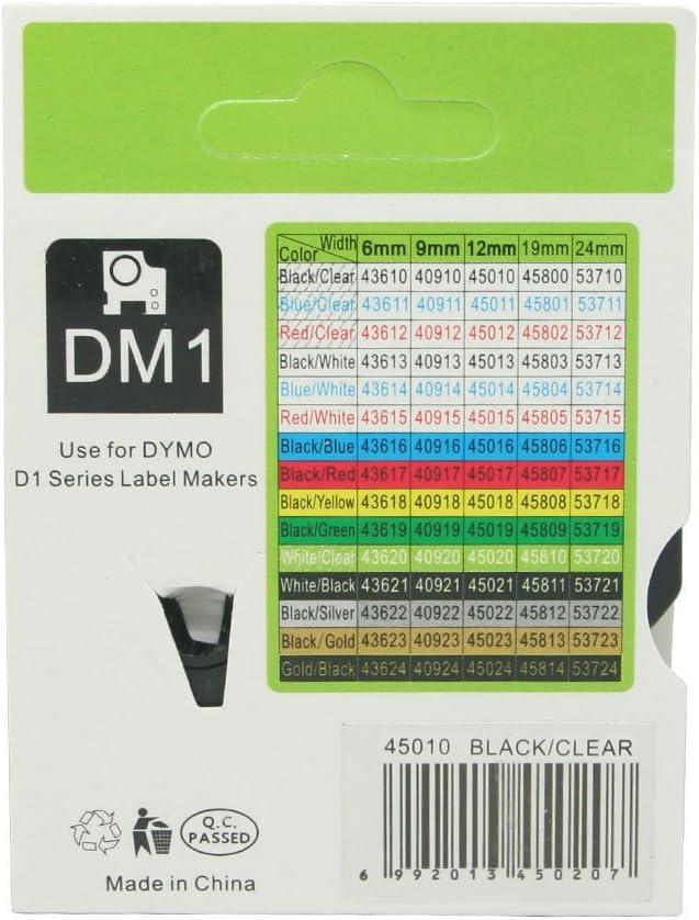 fassport 1/Noir sur /étiquette ruban adh/ésif transparent Compatible pour DYMO D1/45010/12/mm 1//5,1/cm White on Black