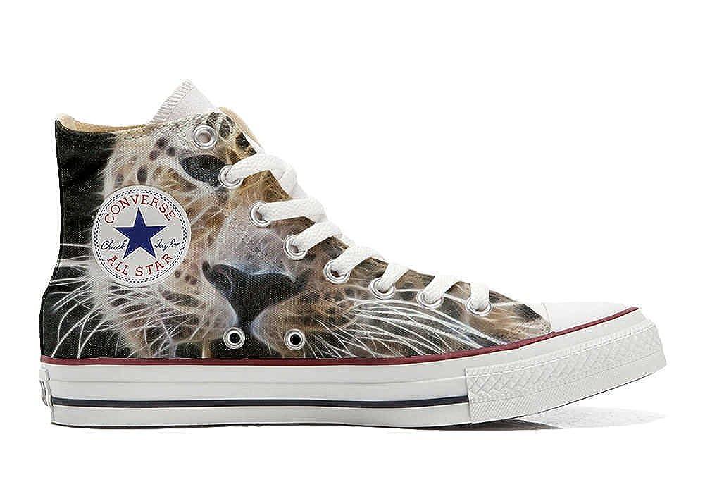 Converse All Star Hi Customized Personalisiert Schuhe Unisex (Gedruckte Schuhe) Tiger Style  39 EU