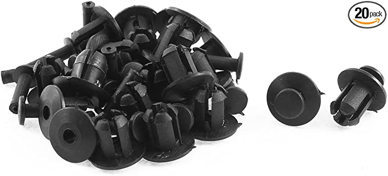 20 Pcs 7mm x 15mm Sealing Nails Black Plastic Rivet Buckle Clips