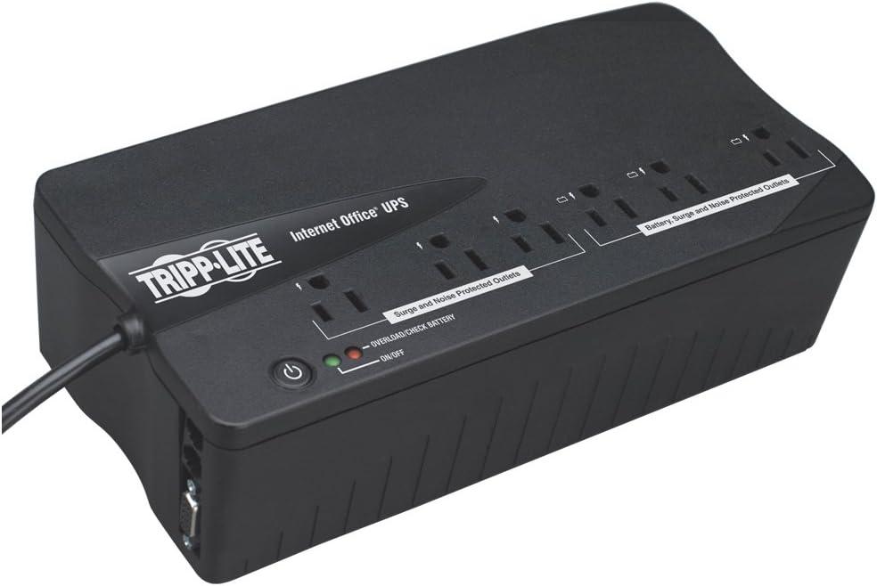 350VA//180W 3 x NEMA 5-15R Battery Backup System 3 x NEMA 5-15R Surge-protected Tripp Lite Internet Office INTERNET350SER 350VA UPS 2.5 Minute Full Load
