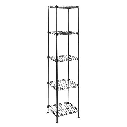 amazon com small wire shelving unit 5 shelf organizing shelves for rh amazon com small wire shelving unit small wire shelf with hooks