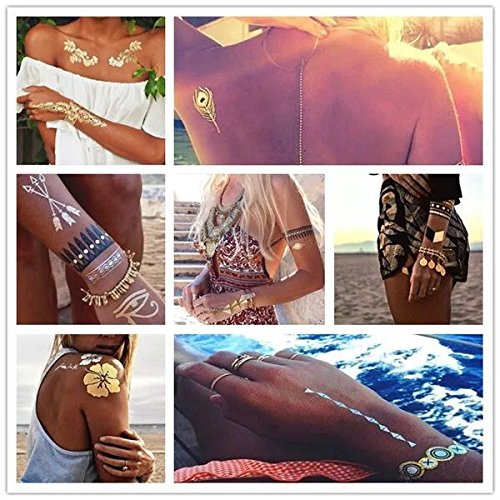 Metallic,Shimmer Designs in Gold, Silver, Black and Turquoise, Bracelets, Feathers, Wrist and Arm Bands, Temporary Tattoos, by Wffdirect, Color Flash Fake Waterproof Tattoo Stickers-For Adults or Kids