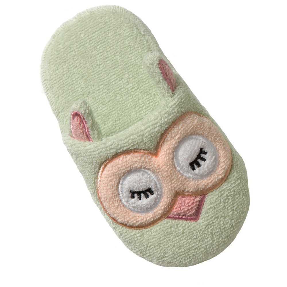 Breganwood Organics Toddler Terry House Slippers for Boys and Girls, Closed Toe with Non Slip Sole for Kids Ages, Mint Green Animal Design, Sleepy Owl