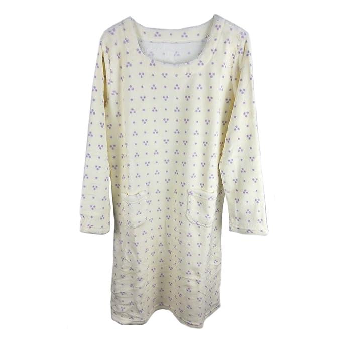Mujer Franela Suave Lana Una Pieza Largo Manga Redondo Collar Pijama Mono Túnicas Polca Punto Blanco