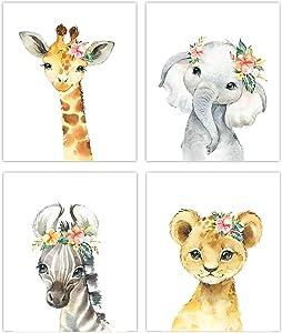 Little Baby Watercolor Animals Floral Crown Safari Prints Set of 4 (Unframed) Nursery Decor Art (8x10) (Option 2)