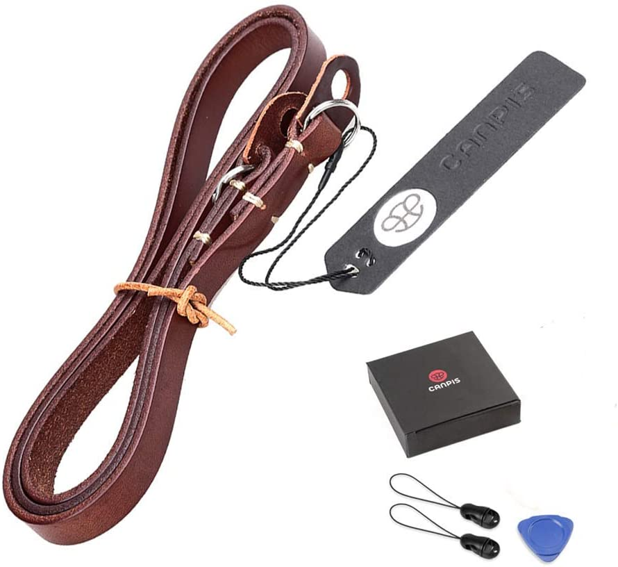 CANPIS Retro Simplicity Leather Camera Shoulder Neck Strap Belt with Lengthened for Universal Camera Leica Canon Nikon Fuji Olympus Panasonic etc. Red-Brown